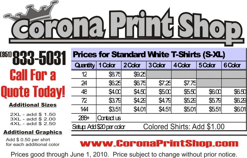 Corona print shop screen printng for T shirt printing price list